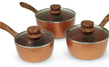 JML Copper Stone Pan 3 Piece Pan Set with Lids