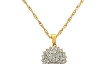 Revere 9ct Gold Diamond Cluster Pendant Necklace