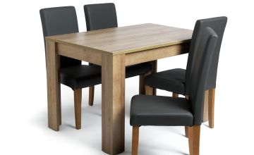 Argos Home Miami Oak Effect Dining Table & 4 Chairs