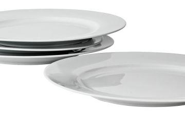 Argos Home Set of 4 Porcelain Dinner Plates - Super White