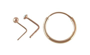 State of Mine 9ct Rose Gold Plated Nose Hoop & Studs Set
