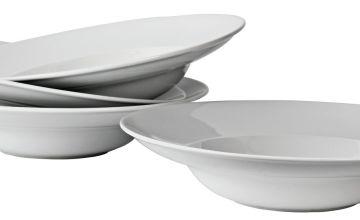 Argos Home Set of 4 Porcelain Large Pasta Bowls -Super White