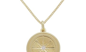 Moon & Back 9ct Gold Plated Compass Locket Pendant Necklace