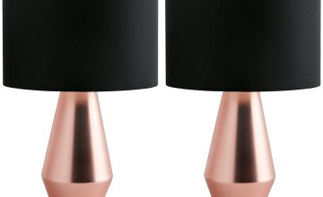 Habitat Maya Pair of Touch Table Lamps - Copper & Black