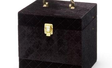 Soho Black Quilted Velvet Vanity Case