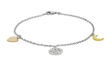 Moon & Back Silver & Gold Plated Silver CZ Message Bracelet