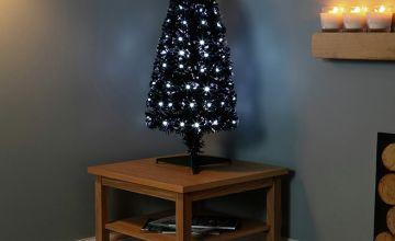 Premier Decorations 80cm Slim Black Fibre Optic Tree
