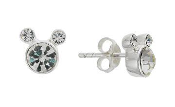 Disney Mickey Sterling Silver Crystal Set Stud Earrings