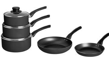 Argos Home 5 Piece Aluminium Pan Set - Black