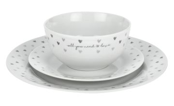 Argos Home 12 Piece Grey Hearts Dinner Set
