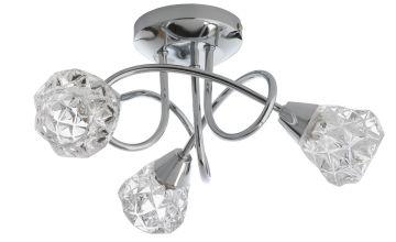 Argos Home Dico 3 Light Ceiling Light - Chrome & Glass