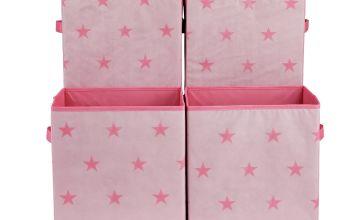 Argos Home Set of 4 Star Canvas Boxes