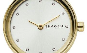 Skagen Ladies Freja Gold Colour Mesh Strap Watch