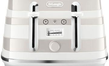 De'Longhi CTA4003W Avvolta 4 Slice Toaster - White & Grey