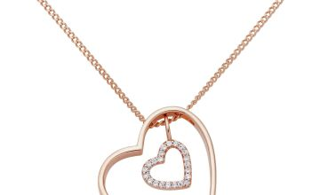 Moon & Back 9ct Rose Gold Plated Heart Pendant Necklace