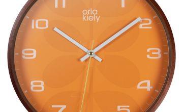 Orla Kiely Wooden Wall Clock - Orange
