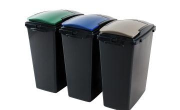 Addis 40 Litre Plastic Recycling Bins - Set of 3