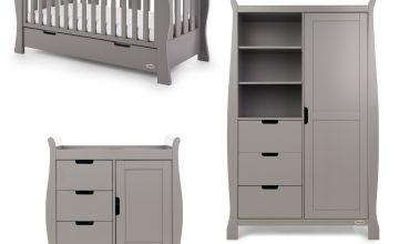Obaby Stamford Luxe Sleigh 3 Piece Nursery Set - Taupe Grey