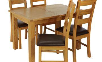Argos Home Ashwell Oak Veneer Extending Table & 4 Chairs