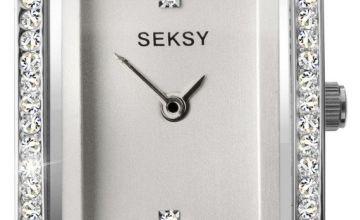Seksy Rocks White Leather Stone Set Strap Watch