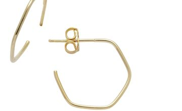 Revere 9ct Gold Plated Sterling Silver Hexagon Hoop Earrings