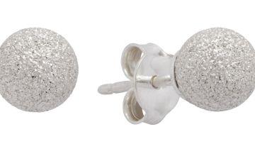 Revere Sterling Silver Diamond Cut Ball Stud Earrings
