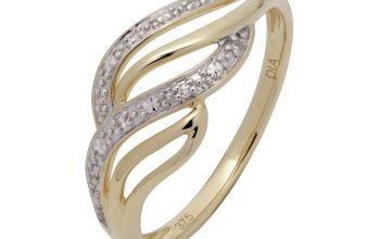 Revere 9ct Gold 0.02ct tw Diamond Twist Ring
