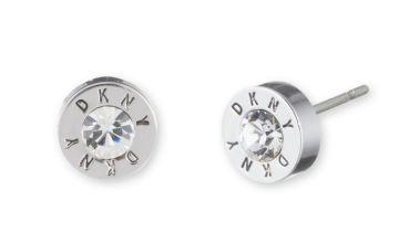 DKNY Silver Colour Cubic Zirconia Crystal Logo Earrings