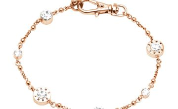 DKNY Rose Gold Colour Cubic Zirconia Crystal Logo Bracelet