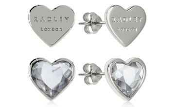 Radley Silver Plated Heart Stud Blue Heart Stone Earring Set