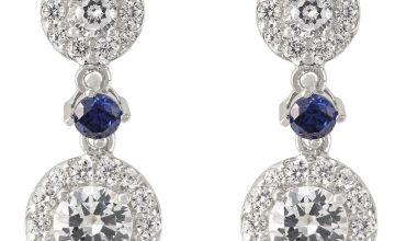 Revere Round Cubic Zirconia Sterling Silver Drop Earrings