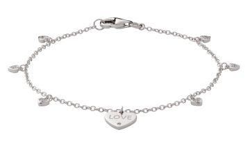Moon & Back Sterling Silver Love Charm Bracelet