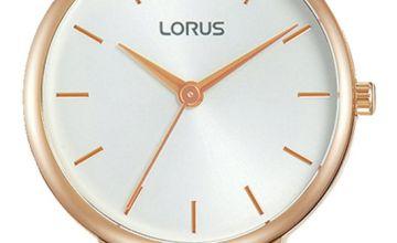 Lorus Ladies Grey Leather Strap Watch