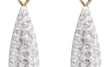 Revere 9ct White Gold Crystal Drop Earrings