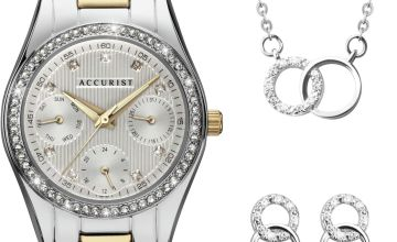 Accurist Ladies Two Tone Watch,Earring and Necklace Gift Set