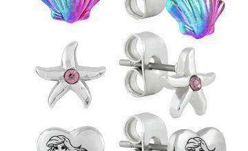 Disney Little Mermaid Stud Earrings - Set of 3