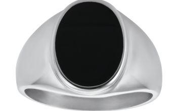 Revere Men's Stainless Steel Black Resin Oval Signet Ring