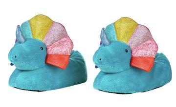 Imagination Station Rainbow Dinosaur Slippers