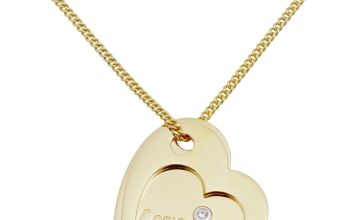 Moon & Back 9ct Gold Plated Double Heart Pendant Necklace