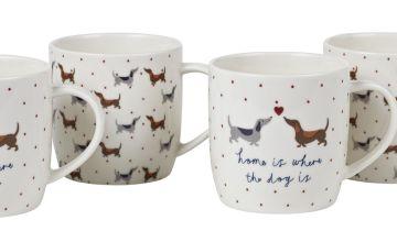 Argos Home Set of 4 Spotty Dachshund Mugs