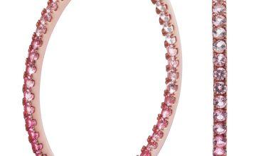 Revere 9ct Rose Gold Plated Cubic Zirconia Hoop Earrings
