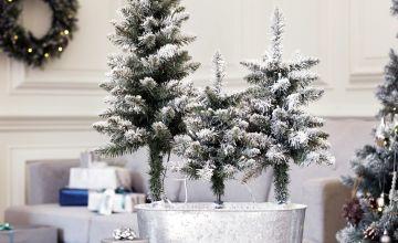 Argos Home Trio of Snowy Trees in Pot
