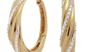 Revere 9ct Gold Plated 0.02ct tw Diamond Twist Hoop Earrings