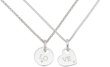 Moon & Back Sterling Silver Love Pendants - Set of 2