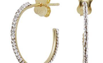 Revere 9ct Gold Plated Crystal Circle Hoop Earrings