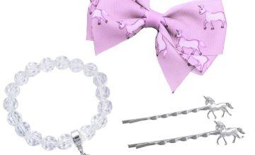 Emoji Kid's Unicorn Hair Clips and Bracelet Set
