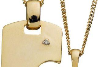 Moon & Back Linking Diamond Pendant Necklace Set