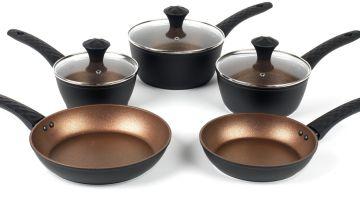 Salter Diamond Tech 5 Piece Copper Pan Set