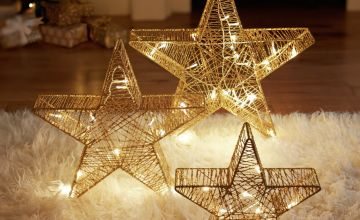Argos Home Set of 3 Gold Light Up Stars