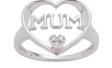 Moon & Back Sterling Silver 0.03ct tw Diamond Set Mum Ring
